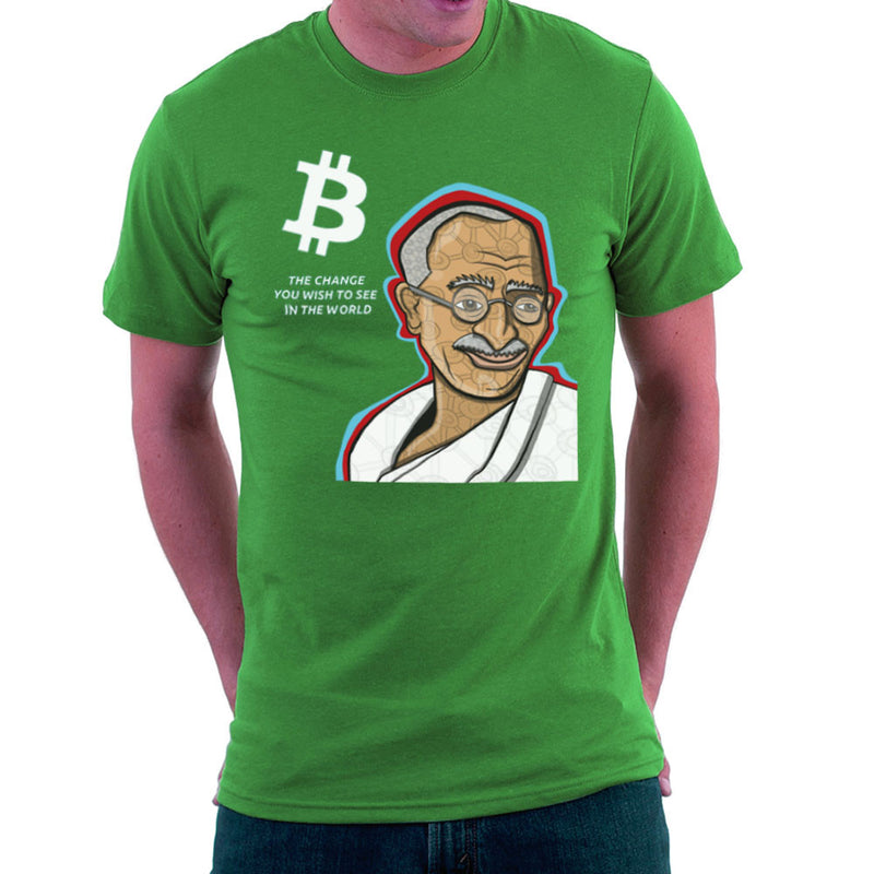 B the Change Gandhi Bitcoin Men's T-Shirt by Toonpunk - Cloud City 7