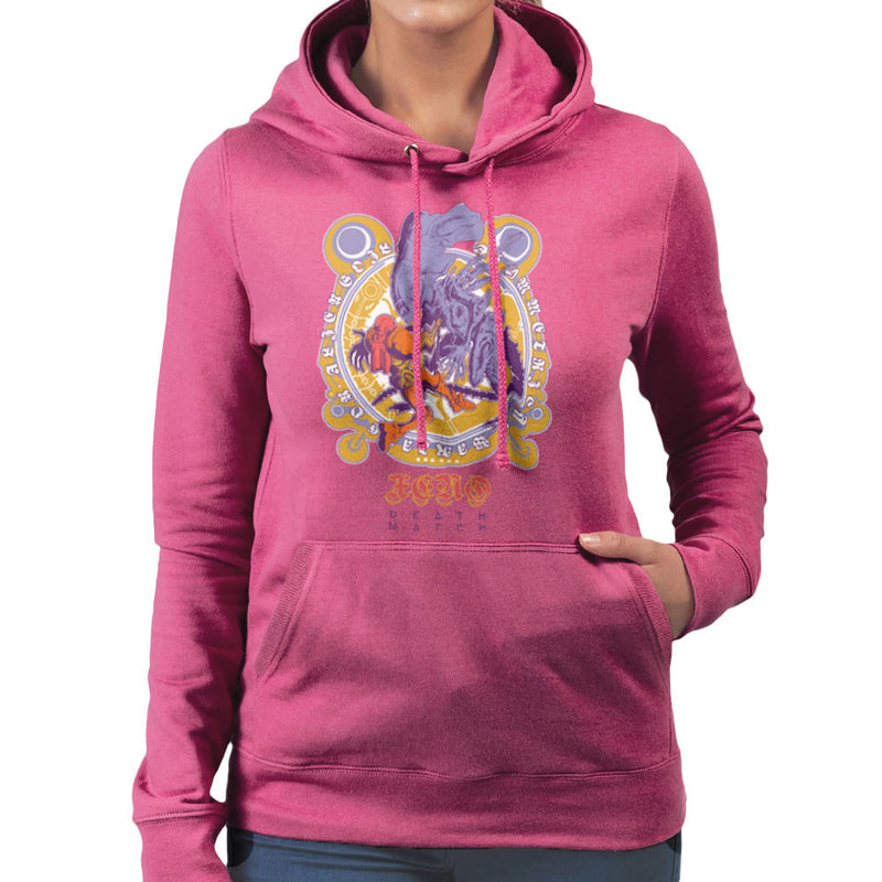 Death Match Alien Vs Bounty Hunter Women's Hooded Sweatshirt by Derek Restivo - Cloud City 7