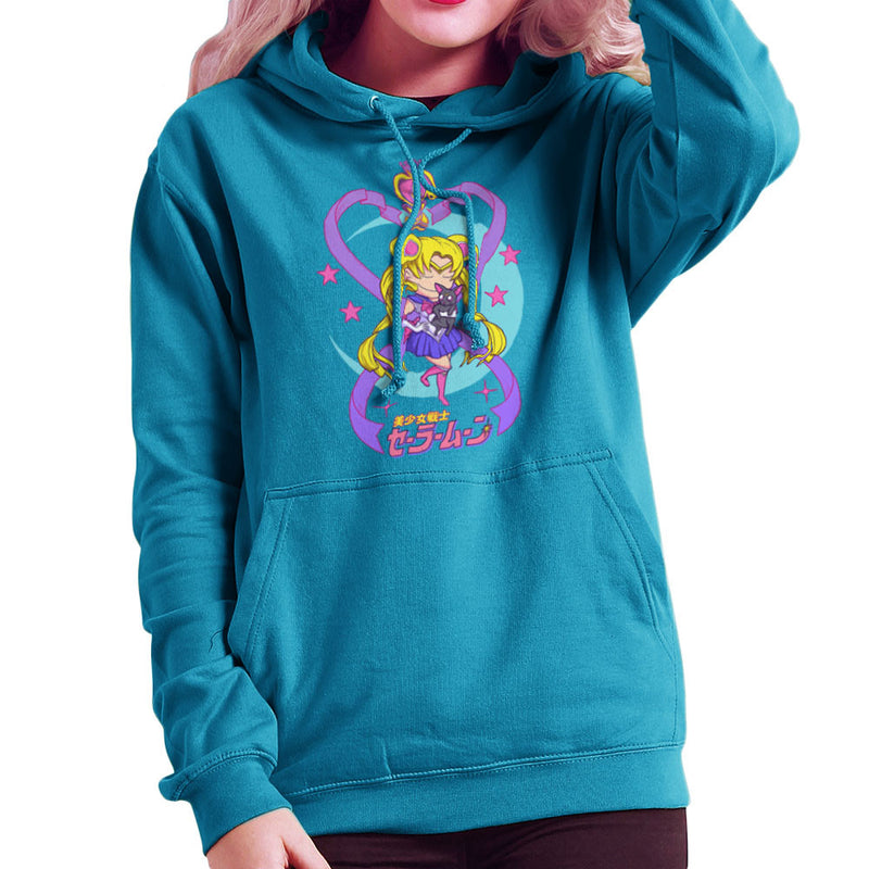 Sailor Moon and Luna Women's Hooded Sweatshirt by Derek Restivo - Cloud City 7
