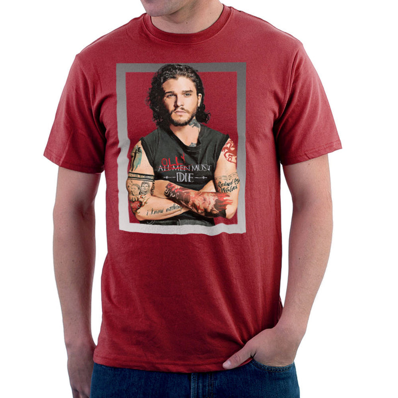 Game of Thrones Jon Snow Thug Tattoos Men's T-Shirt by Hilarious Delusions - Cloud City 7