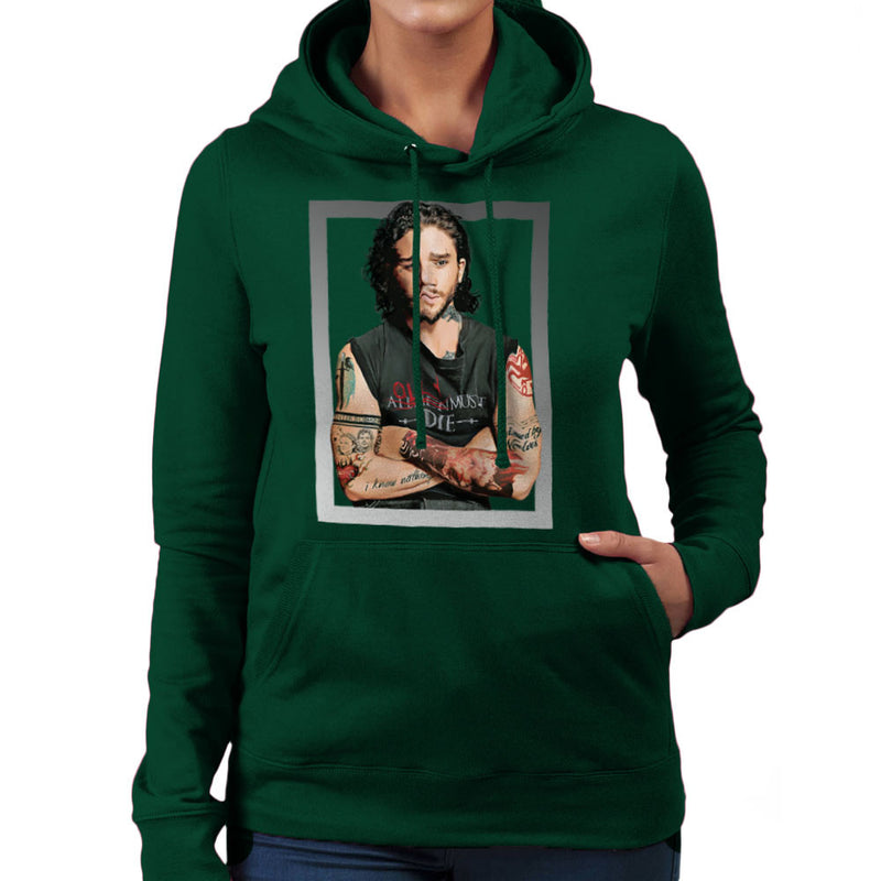Game of Thrones Jon Snow Thug Tattoos Women's Hooded Sweatshirt by Hilarious Delusions - Cloud City 7