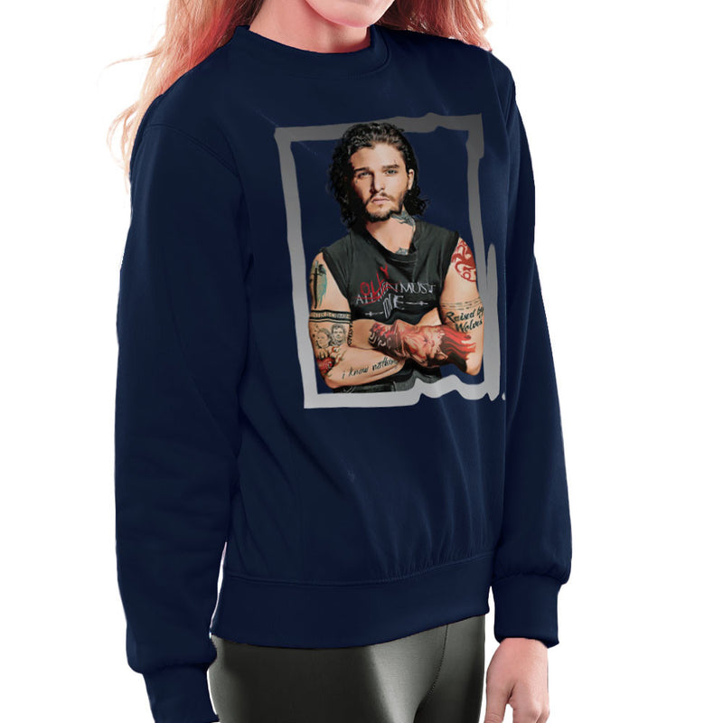 Game of Thrones Jon Snow Thug Tattoos Women's Sweatshirt by Hilarious Delusions - Cloud City 7