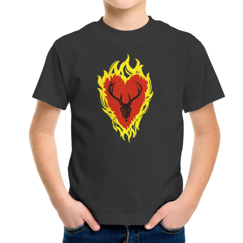 Game of Thrones Stannis Baratheon Sigil Stagg in a Heart of Flames Kid's T-Shirt by Hilarious Delusions - Cloud City 7