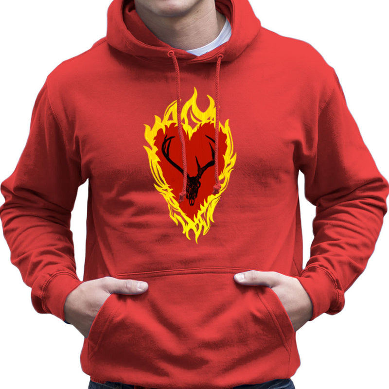 Game of Thrones Stannis Baratheon Sigil Stagg in a Heart of Flames Men's Hooded Sweatshirt by Hilarious Delusions - Cloud City 7