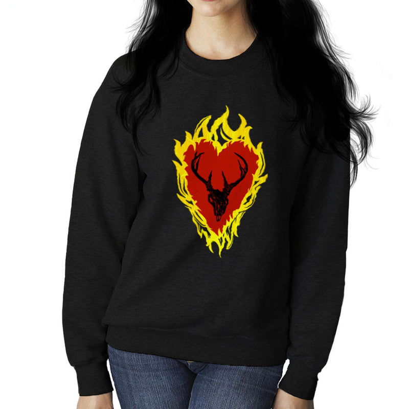 Game of Thrones Stannis Baratheon Sigil Stagg in a Heart of Flames Women's Sweatshirt by Hilarious Delusions - Cloud City 7