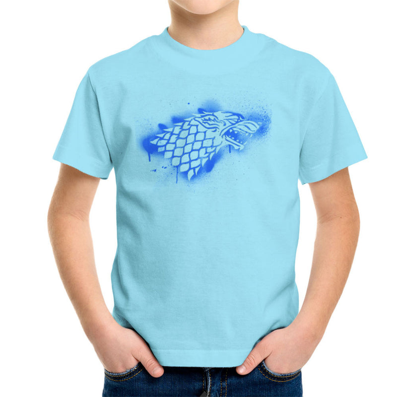 Game of Thrones Stark Sigil Dire Wolf Winterfell Spray Paint blue Kid's T-Shirt by Hilarious Delusions - Cloud City 7