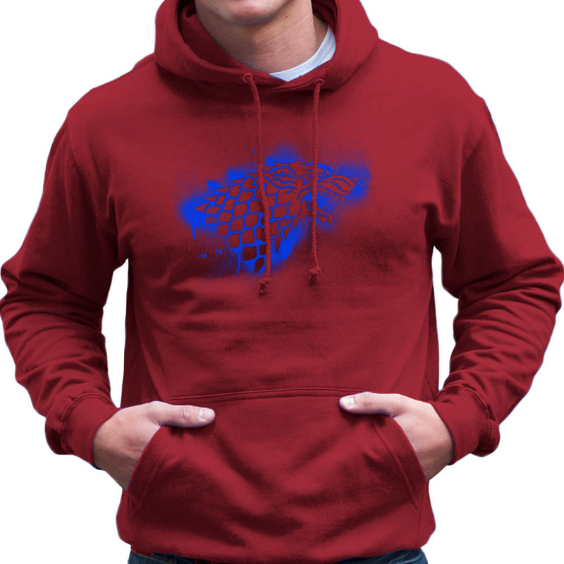 Game of Thrones Stark Sigil Dire Wolf Winterfell Spray Paint blue Men's Hooded Sweatshirt by Hilarious Delusions - Cloud City 7
