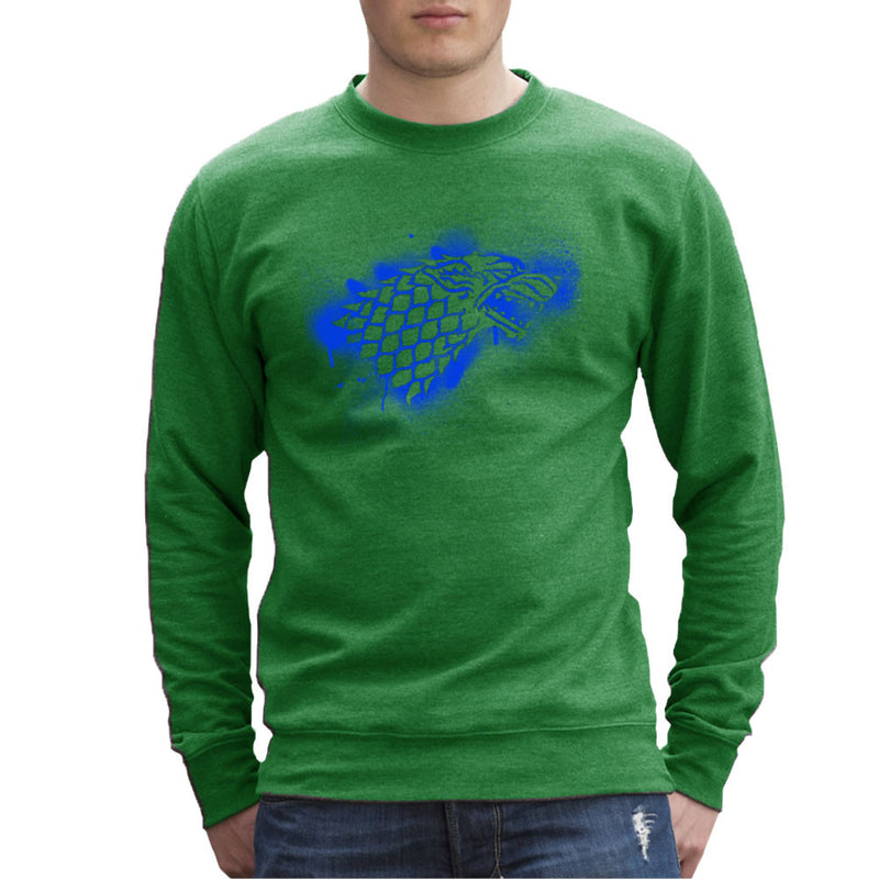 Game of Thrones Stark Sigil Dire Wolf Winterfell Spray Paint blue Men's Sweatshirt by Hilarious Delusions - Cloud City 7