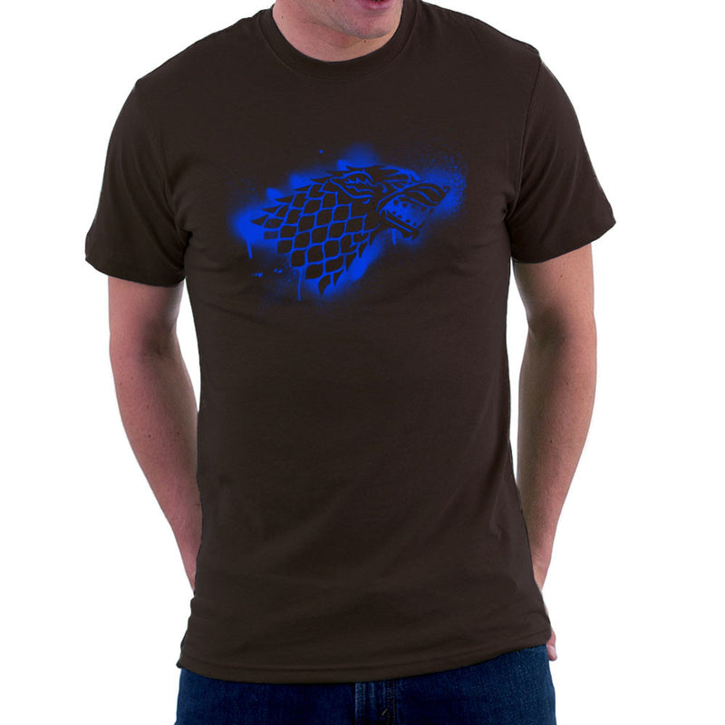 Game of Thrones Stark Sigil Dire Wolf Winterfell Spray Paint blue Men's T-Shirt by Hilarious Delusions - Cloud City 7