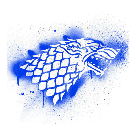 Game of Thrones Stark Sigil Dire Wolf Winterfell Spray Paint blue