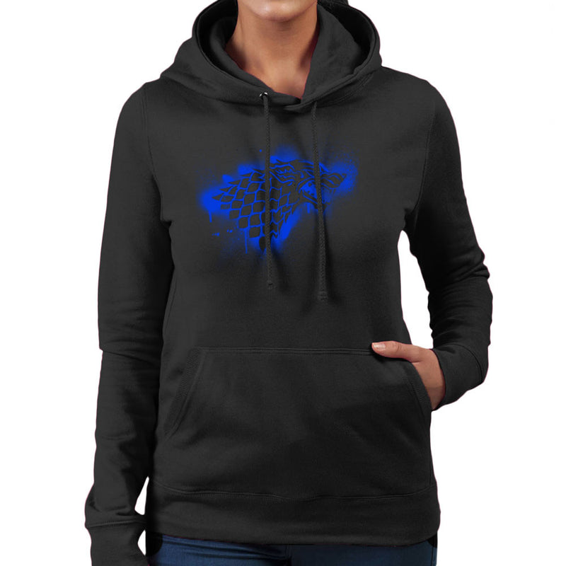 Game of Thrones Stark Sigil Dire Wolf Winterfell Spray Paint blue Women's Hooded Sweatshirt by Hilarious Delusions - Cloud City 7