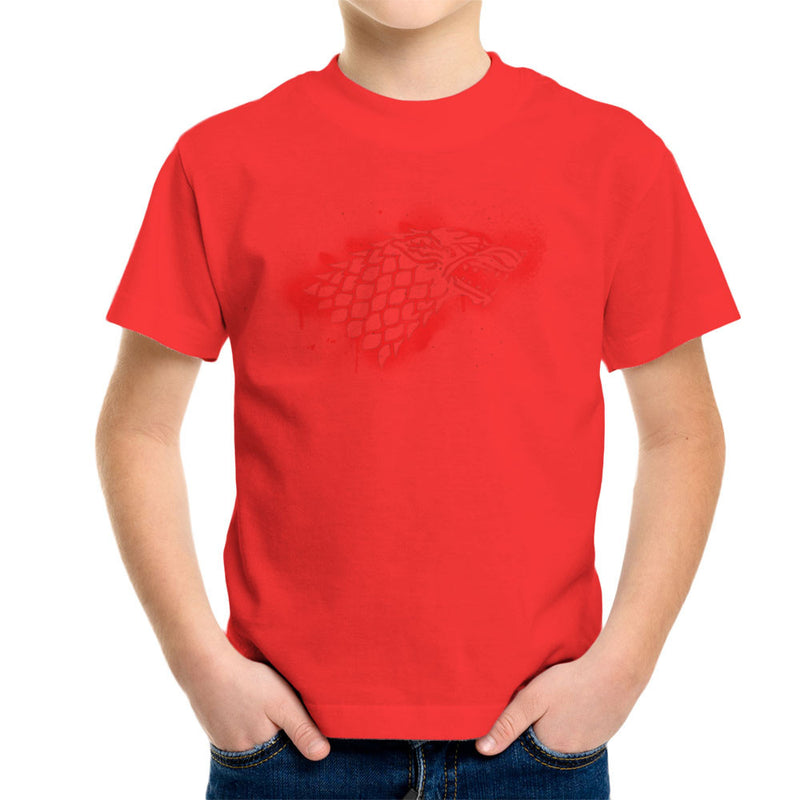 Game of Thrones Stark Sigil Dire Wolf Winterfell Spray Paint red Kid's T-Shirt by Hilarious Delusions - Cloud City 7