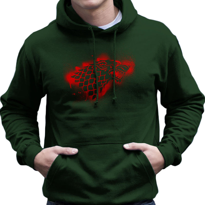 Game of Thrones Stark Sigil Dire Wolf Winterfell Spray Paint red Men's Hooded Sweatshirt by Hilarious Delusions - Cloud City 7