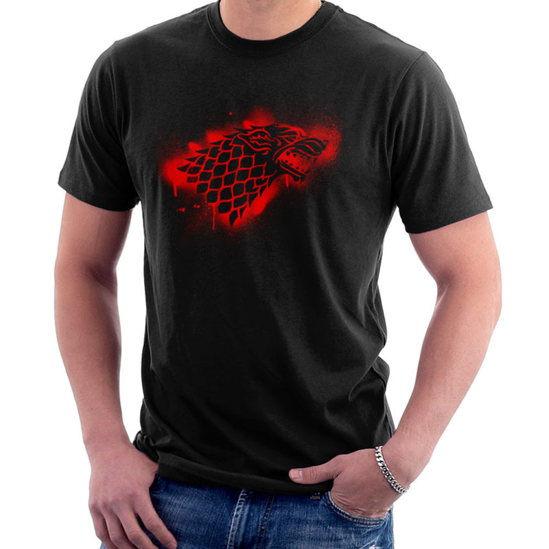 Game of Thrones Stark Sigil Dire Wolf Winterfell Spray Paint red Men's T-Shirt by Hilarious Delusions - Cloud City 7