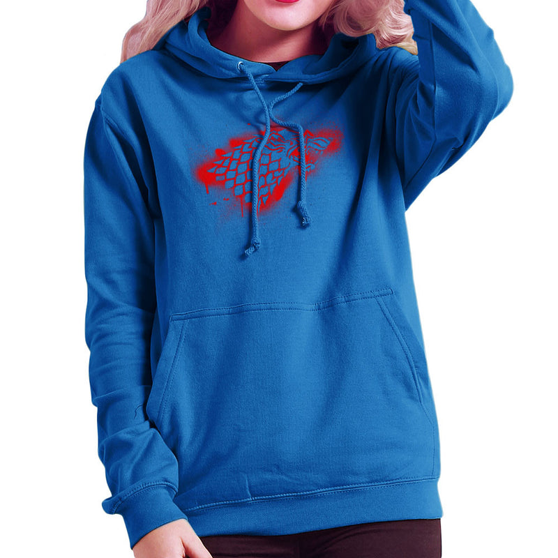 Game of Thrones Stark Sigil Dire Wolf Winterfell Spray Paint red Women's Hooded Sweatshirt by Hilarious Delusions - Cloud City 7
