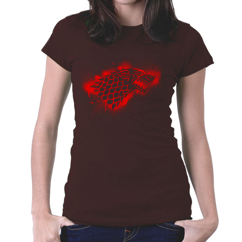 Game of Thrones Stark Sigil Dire Wolf Winterfell Spray Paint red Women's T-Shirt by Hilarious Delusions - Cloud City 7