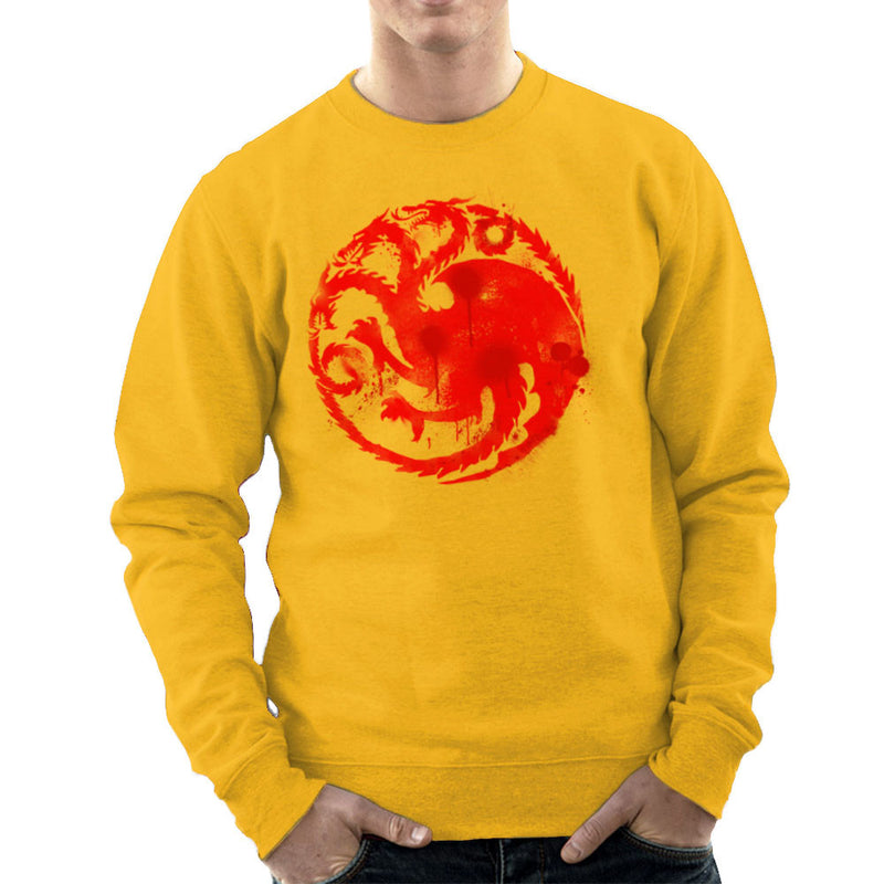 Game of Thrones Targaryen Sigil Three Headed Dragon Spray Men's Sweatshirt by Hilarious Delusions - Cloud City 7