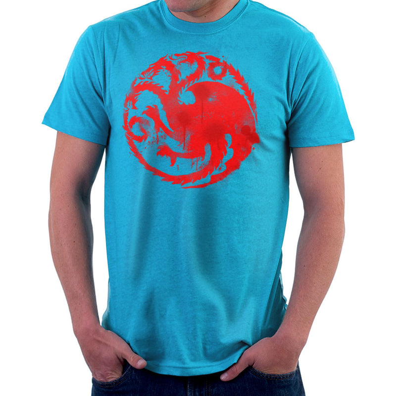 Game of Thrones Targaryen Sigil Three Headed Dragon Spray Men's T-Shirt by Hilarious Delusions - Cloud City 7
