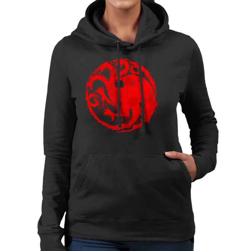 Game of Thrones Targaryen Sigil Three Headed Dragon Spray Women's Hooded Sweatshirt Women's Hooded Sweatshirt Cloud City 7 - 2