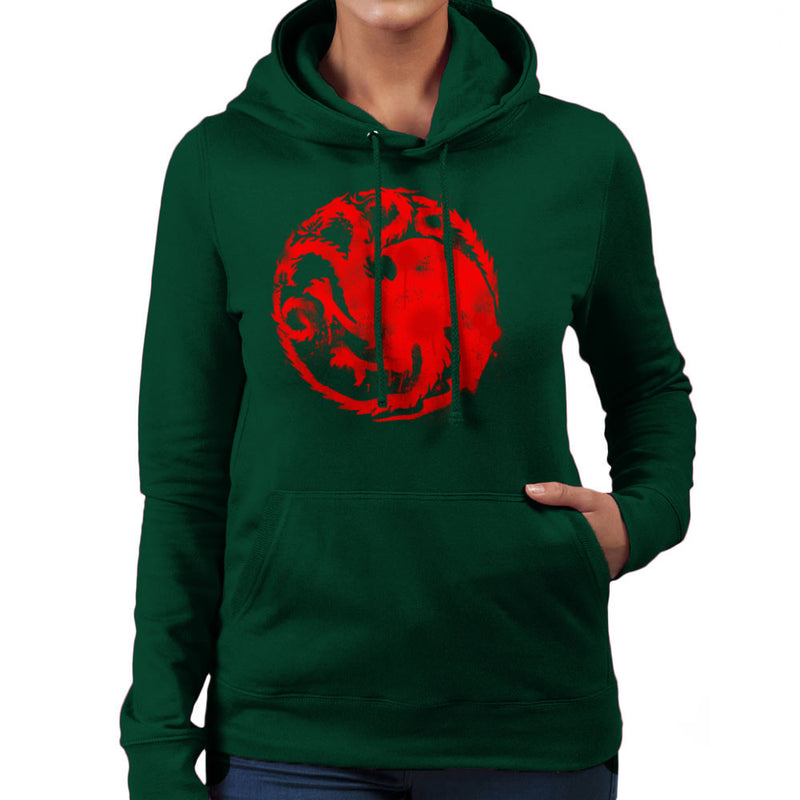 Game of Thrones Targaryen Sigil Three Headed Dragon Spray Women's Hooded Sweatshirt Women's Hooded Sweatshirt Cloud City 7 - 13