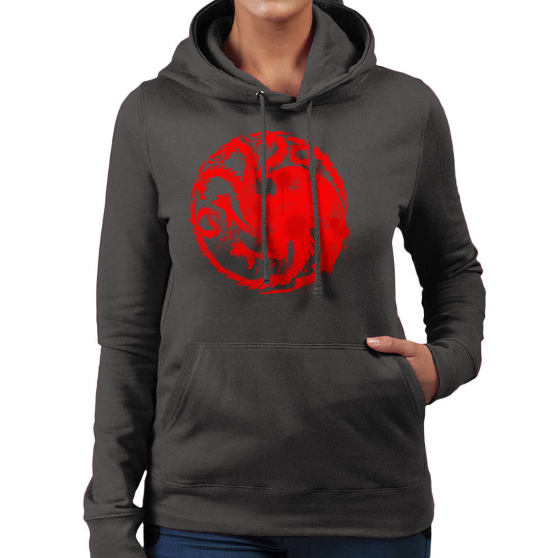 Game of Thrones Targaryen Sigil Three Headed Dragon Spray Women's Hooded Sweatshirt Women's Hooded Sweatshirt Cloud City 7 - 4