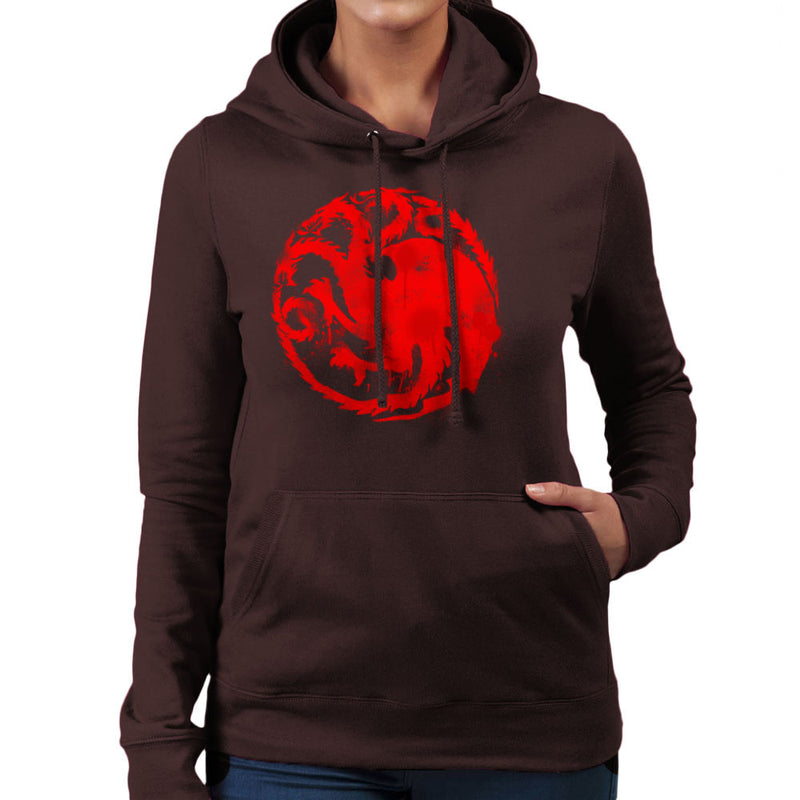 Game of Thrones Targaryen Sigil Three Headed Dragon Spray Women's Hooded Sweatshirt Women's Hooded Sweatshirt Cloud City 7 - 12