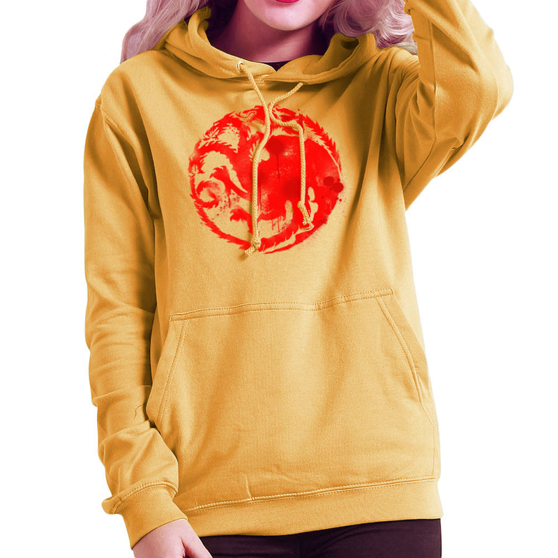 Game of Thrones Targaryen Sigil Three Headed Dragon Spray Women's Hooded Sweatshirt Women's Hooded Sweatshirt Cloud City 7 - 18
