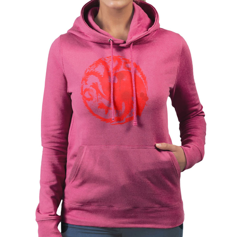 Game of Thrones Targaryen Sigil Three Headed Dragon Spray Women's Hooded Sweatshirt Women's Hooded Sweatshirt Cloud City 7 - 20