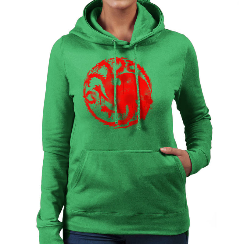 Game of Thrones Targaryen Sigil Three Headed Dragon Spray Women's Hooded Sweatshirt Women's Hooded Sweatshirt Cloud City 7 - 14