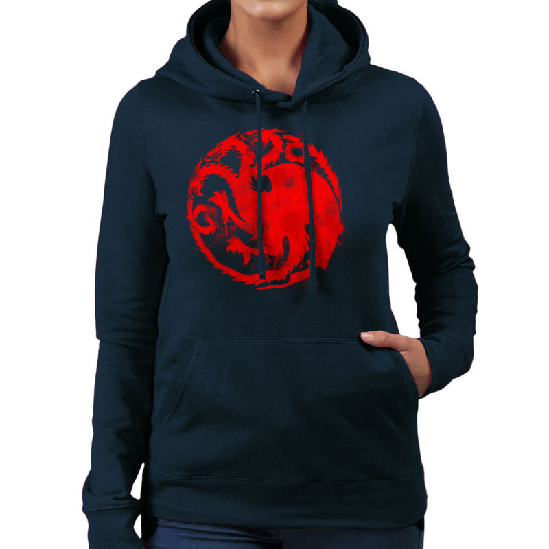 Game of Thrones Targaryen Sigil Three Headed Dragon Spray Women's Hooded Sweatshirt Women's Hooded Sweatshirt Cloud City 7 - 7