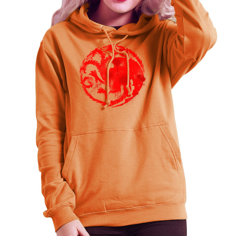 Game of Thrones Targaryen Sigil Three Headed Dragon Spray Women's Hooded Sweatshirt Women's Hooded Sweatshirt Cloud City 7 - 17