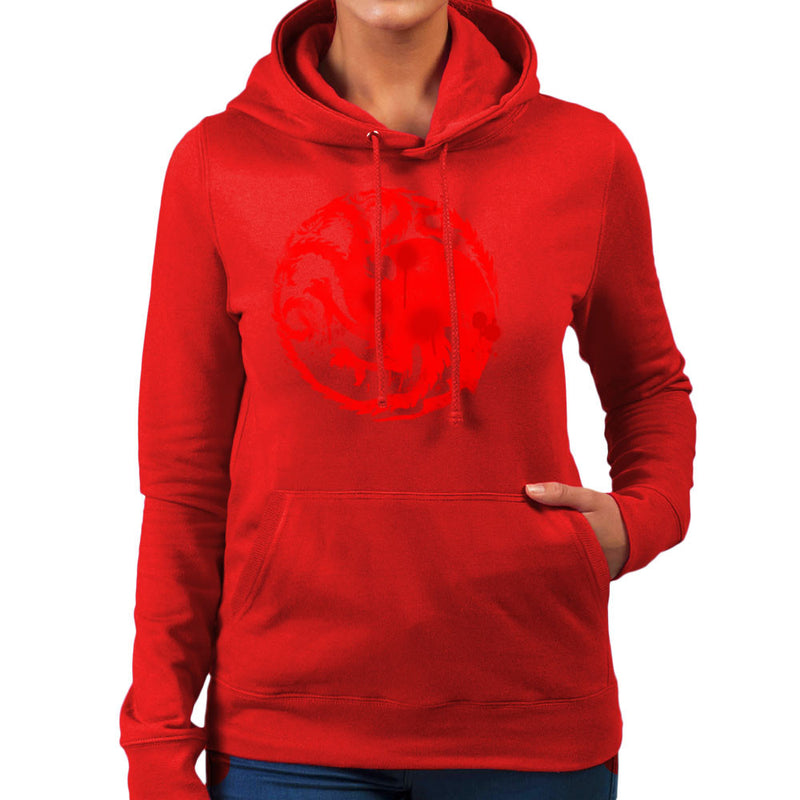 Game of Thrones Targaryen Sigil Three Headed Dragon Spray Women's Hooded Sweatshirt Women's Hooded Sweatshirt Cloud City 7 - 16