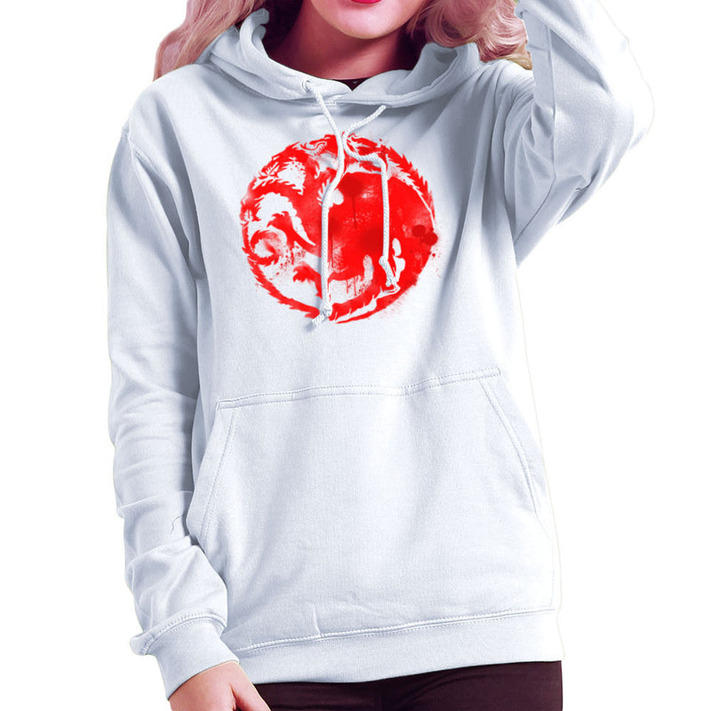 Game of Thrones Targaryen Sigil Three Headed Dragon Spray Women's Hooded Sweatshirt Women's Hooded Sweatshirt Cloud City 7 - 6