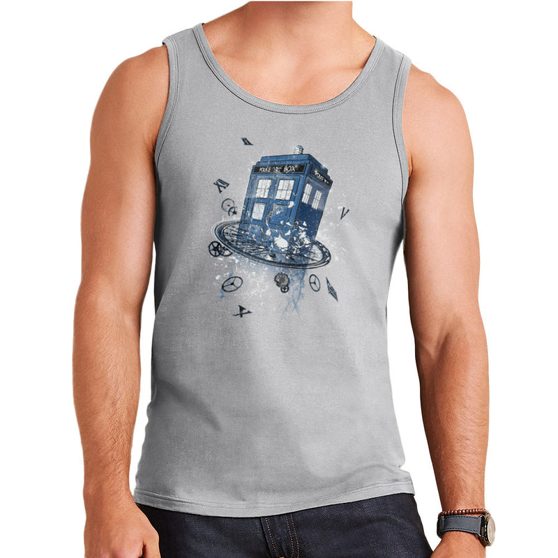 Doctor Who Tardis Breaking the Time Men's Vest by RicoMambo - Cloud City 7