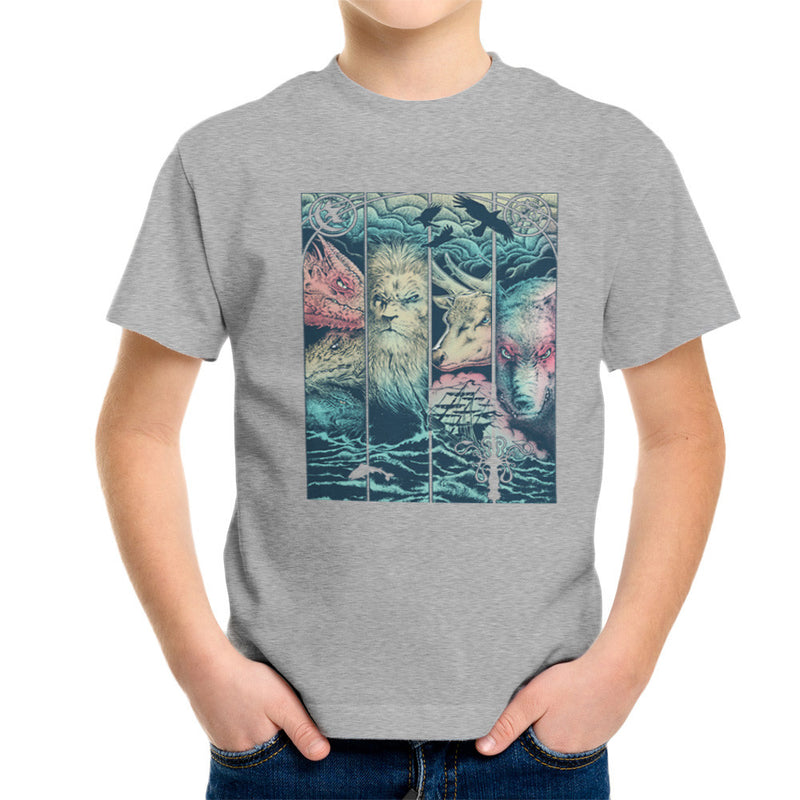 Game of Thrones Animals Dragon Lion Stagg Wolf Kid's T-Shirt by RicoMambo - Cloud City 7