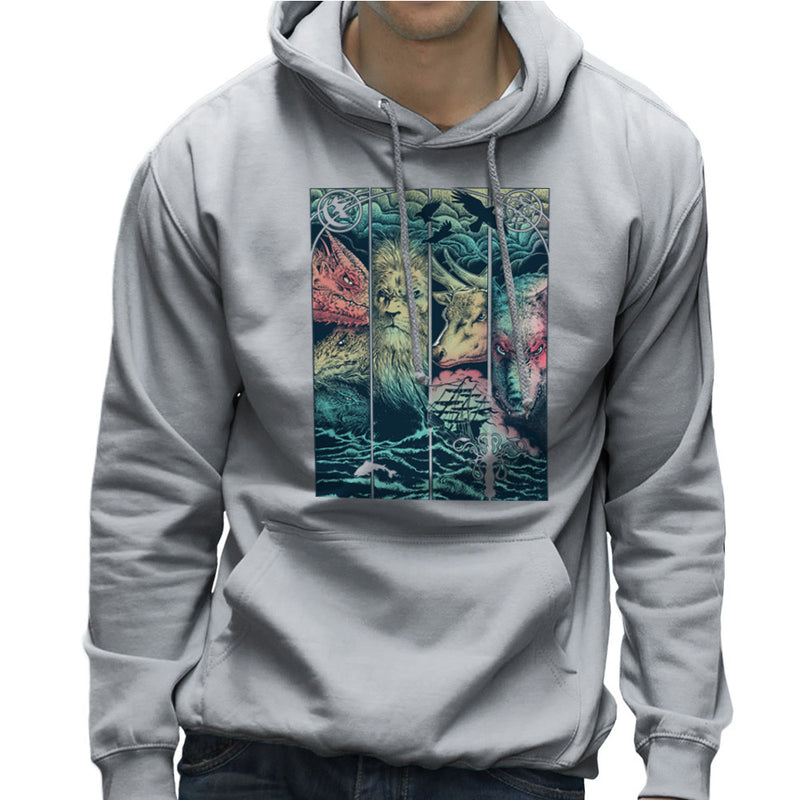 Game of Thrones Animals Dragon Lion Stagg Wolf Men's Hooded Sweatshirt by RicoMambo - Cloud City 7