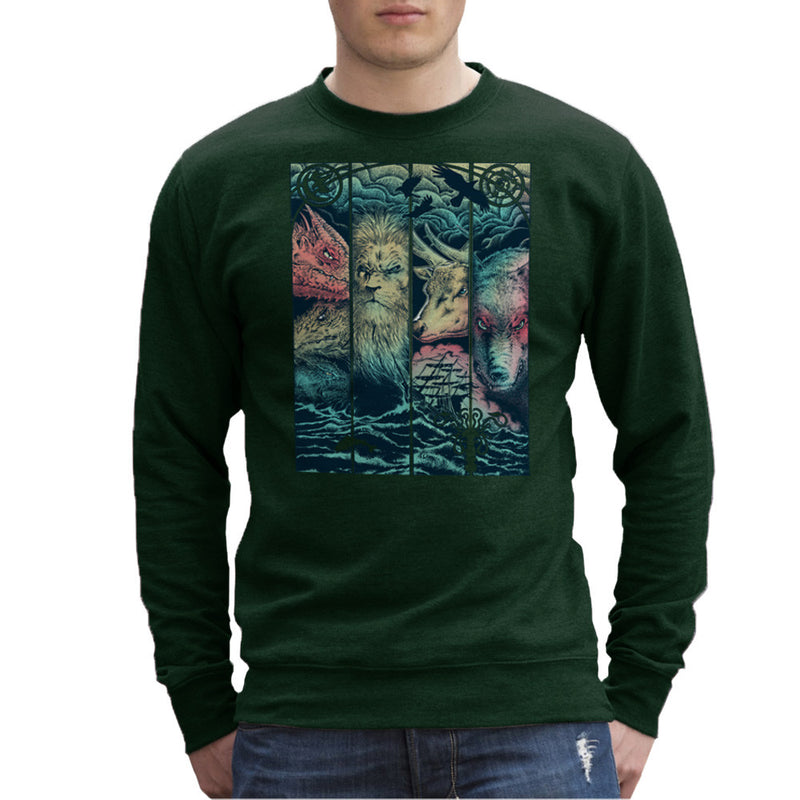 Game of Thrones Animals Dragon Lion Stagg Wolf  Men's Sweatshirt Men's Sweatshirt Cloud City 7 - 13