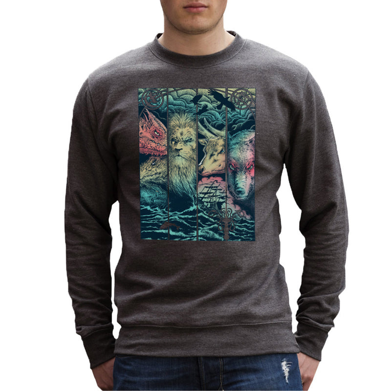 Game of Thrones Animals Dragon Lion Stagg Wolf  Men's Sweatshirt Men's Sweatshirt Cloud City 7 - 4