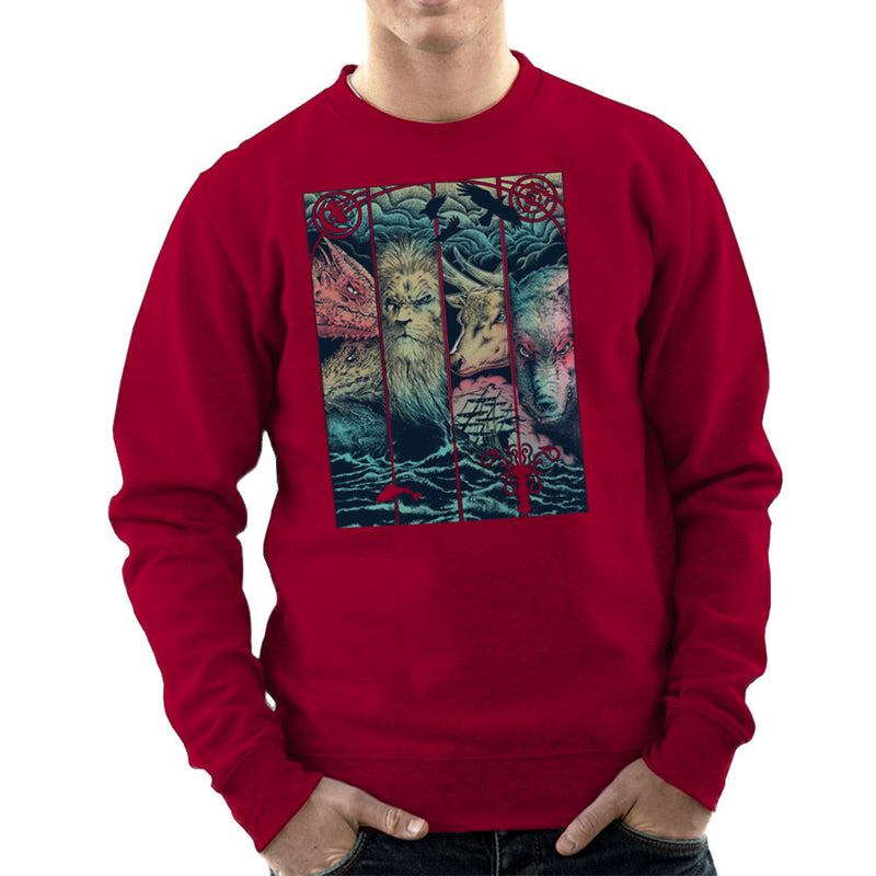 Game of Thrones Animals Dragon Lion Stagg Wolf  Men's Sweatshirt Men's Sweatshirt Cloud City 7 - 15