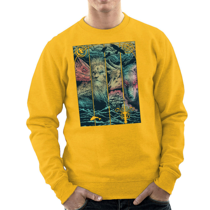 Game of Thrones Animals Dragon Lion Stagg Wolf  Men's Sweatshirt Men's Sweatshirt Cloud City 7 - 18