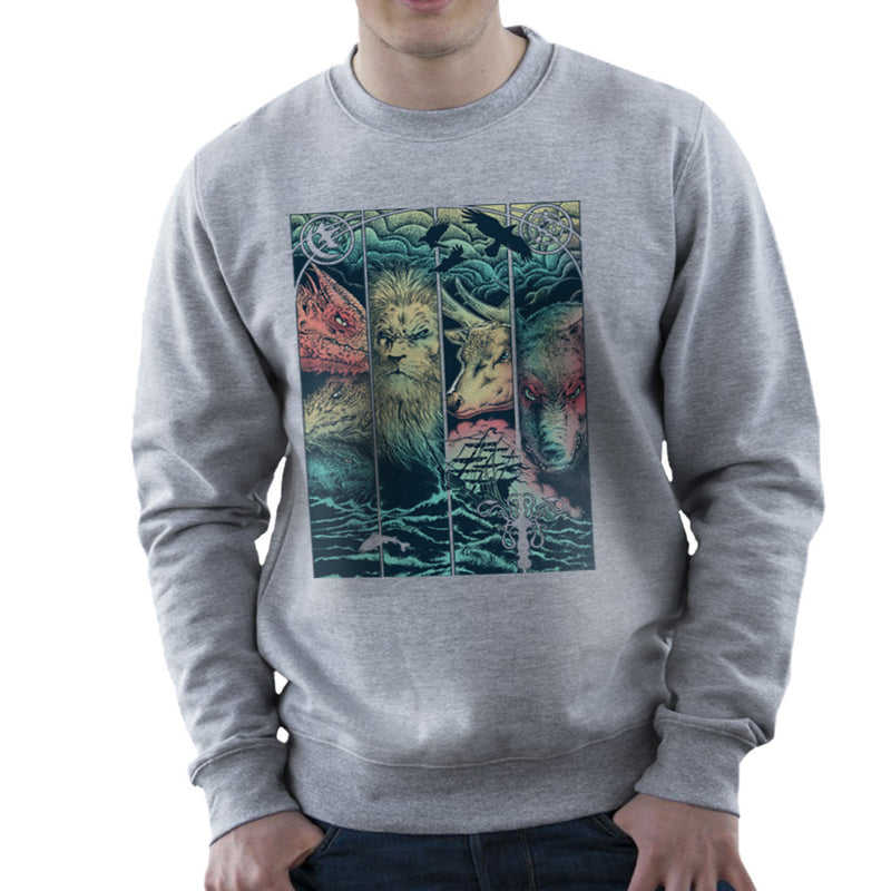 Game of Thrones Animals Dragon Lion Stagg Wolf  Men's Sweatshirt Men's Sweatshirt Cloud City 7 - 5