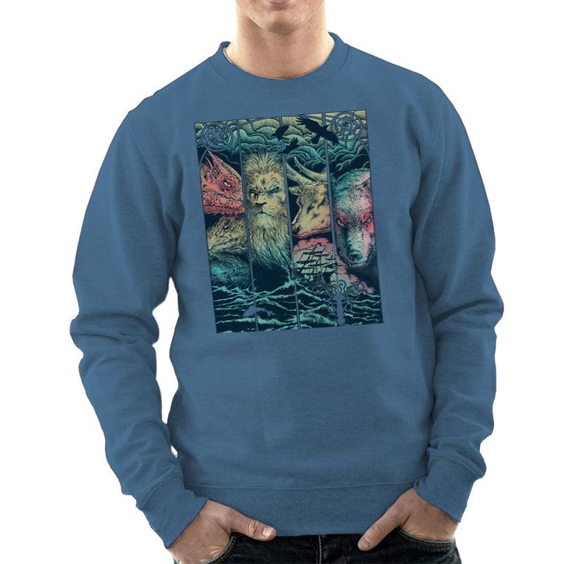 Game of Thrones Animals Dragon Lion Stagg Wolf  Men's Sweatshirt Men's Sweatshirt Cloud City 7 - 9