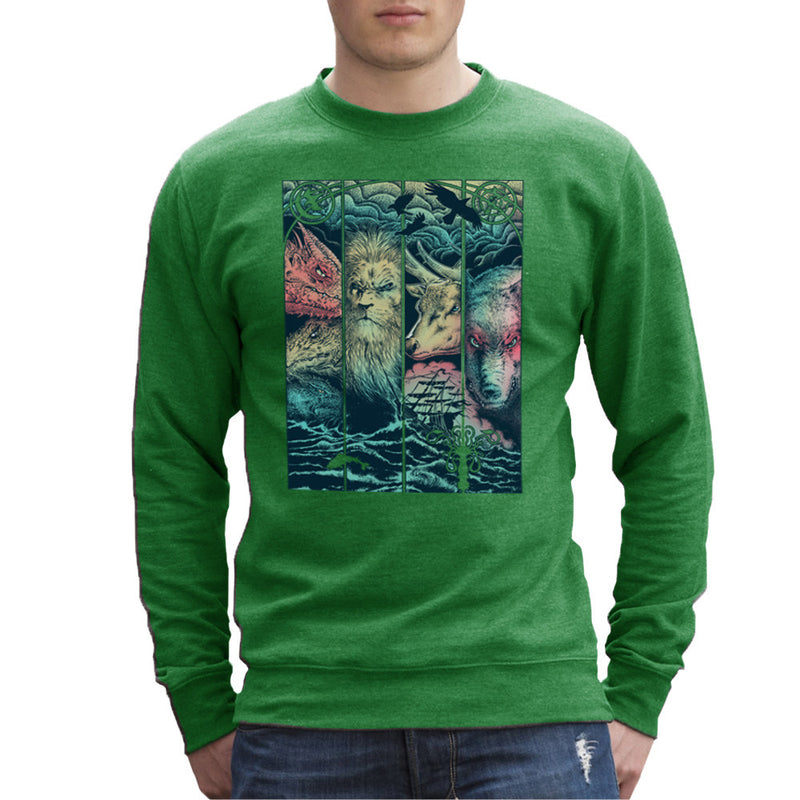 Game of Thrones Animals Dragon Lion Stagg Wolf  Men's Sweatshirt Men's Sweatshirt Cloud City 7 - 14