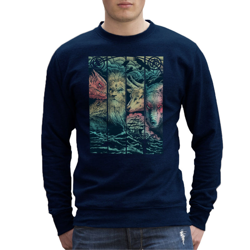 Game of Thrones Animals Dragon Lion Stagg Wolf  Men's Sweatshirt Men's Sweatshirt Cloud City 7 - 7