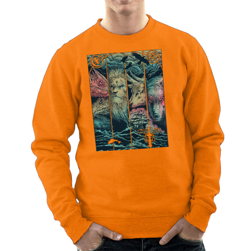 Game of Thrones Animals Dragon Lion Stagg Wolf  Men's Sweatshirt Men's Sweatshirt Cloud City 7 - 17