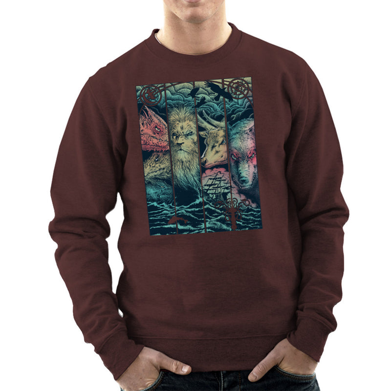 Game of Thrones Animals Dragon Lion Stagg Wolf  Men's Sweatshirt Men's Sweatshirt Cloud City 7 - 1