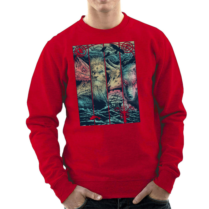 Game of Thrones Animals Dragon Lion Stagg Wolf  Men's Sweatshirt Men's Sweatshirt Cloud City 7 - 16