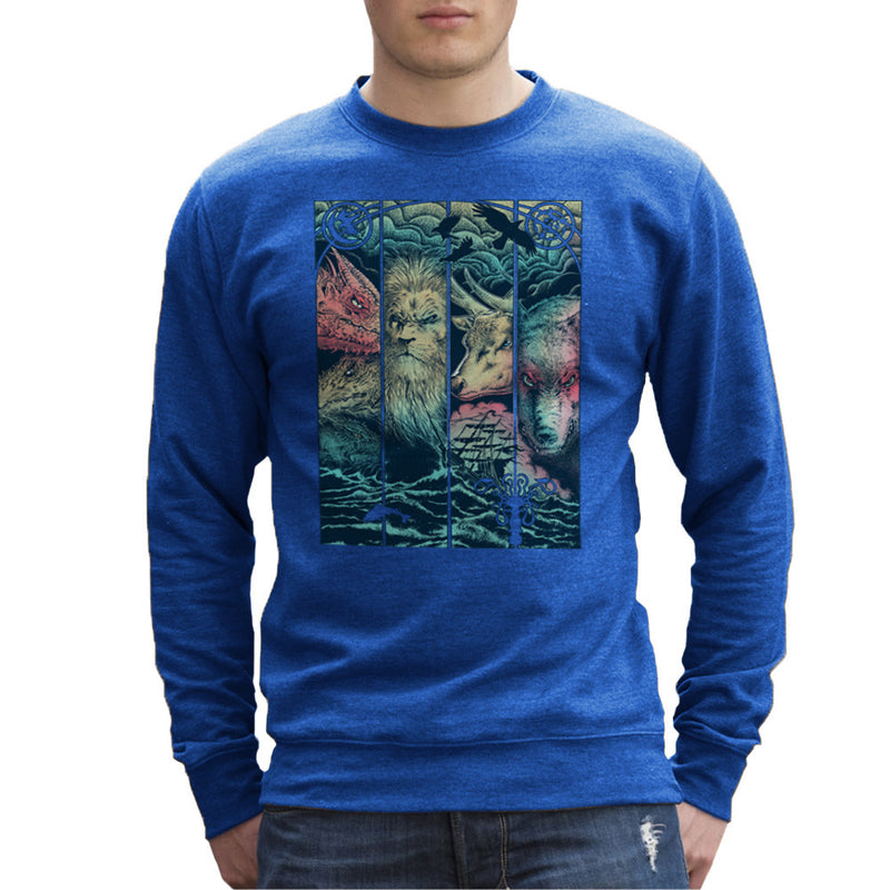 Game of Thrones Animals Dragon Lion Stagg Wolf  Men's Sweatshirt Men's Sweatshirt Cloud City 7 - 8