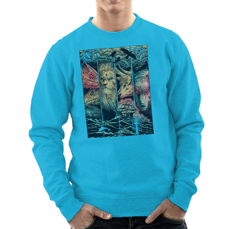 Game of Thrones Animals Dragon Lion Stagg Wolf  Men's Sweatshirt Men's Sweatshirt Cloud City 7 - 10