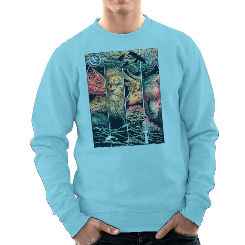 Game of Thrones Animals Dragon Lion Stagg Wolf  Men's Sweatshirt Men's Sweatshirt Cloud City 7 - 11